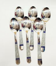 """Set of 6PC Stainless Steel Dinner Spoons With Floral Print 8"""""""