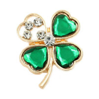 Green Crystal Four Leaf Clover Shamrock Brooch St Patrick Day 4 Ireland Gold Pin