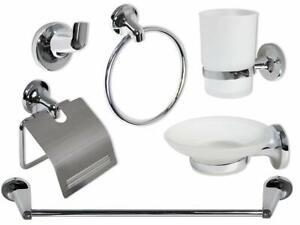 Set bagno moderno in acciaio cromato e vetro satinato 6 pezzi arredo bagno 69984
