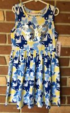 Flapdoodles NWT Girls 8 Blue Yellow Sequin BUTTERFLY Tank DRESS Lace Detail New