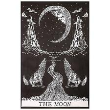 Black and White Crying Wolf of The Moon Tapestry Bohemian Bedspread Wall Hanging