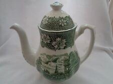 Staffordshire Royal Tudor Ware Coaching Taverns Green Coffee Pot