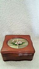 Wooden Mele Jewelry Box with Floral Stained Glass Painted Flower Top
