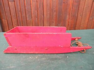Vintage Wooden Snow RED Sled GREAT FOR Decoration