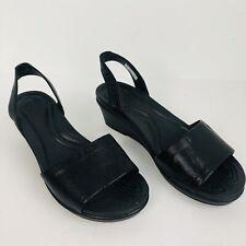 Crocs Slingback sandals  wedge black leather dual comfort  Womens 5  shoes