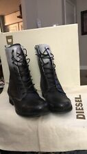 "New Diesel Women's Boots ""Wild Land Arthic"" 8.5 Lace Up Black/white $325 Leathe"
