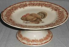 Gooseberry Patch Thanksgiving Table Theme Pedestal Cake Stand Turkey Motif