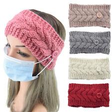 Winter Warmer Ear Button Knitted Headband Turban Elastic Wrap  Crochet Hairband
