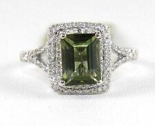 Emerald Cut Green Tourmaline & Diamond Square Ring 1.94Ct 14k White Gold