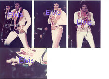 ELVIS PRESLEY WEARING RED EAGLE SUIT 1975 SET OF 4 PHOTOS LOT CANDID