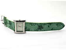 CHARLES DELON: WOMENS' GREEN EMBROIDED LEATHER BAND ANALOG QUARTZ WATCH