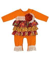 New Girls Boutique Peaches n Cream 3-6m Orange Amber Romper Thanksgiving Clothes