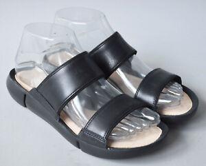Ladies Clarks Trigenic Tri Sara Black Leather Slip On Sandals Size UK 5 D