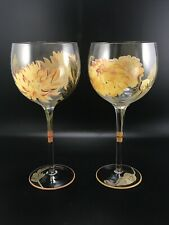 Wine Glasses Hand Painted Floral Set of 2