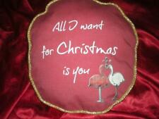 "TROPICAL PINK FLAMINGOS DARK RED ""ALL I WANT FOR CHRISTMAS IS YOU"" ACCENT PILLOW"