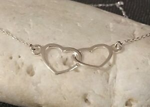 Silver Double Heart Linked Necklace - Solid Sterling 925 Open Cut Out Pendant