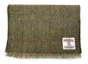 Harris Tweed Fringed Scarf Made in Scotland Green Herringbone