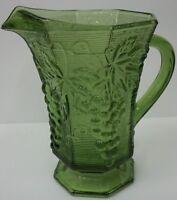 Vintage Anchor Hocking Olive Avocado Green Glass Grape & Vine Juice Pitcher