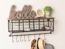 "32"" Black Metal & Wood Shelf with Baskets & 8 Hooks Country Chic Home Wall Decor"