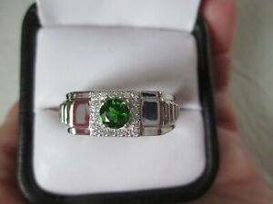 Mens Russian Diopside Platinum over Sterling Silver Ring (Size 12) TGW 0.70 cts.