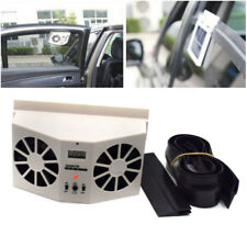 US Ivory Solar Powered Car Front/Rear Window Air Vent Cool Cooler Dual Fan Kit