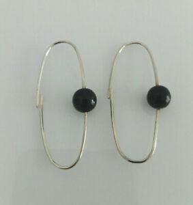 Sterling Silver Black Bead Drop Earring