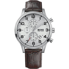 BRAND NEW HUGO BOSS CHRONOGRAPH AEROLINER BROWN LEATHER MEN WATCH HB1512447