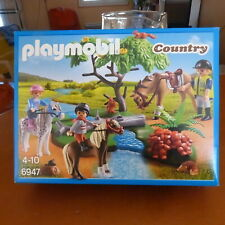 PLAYMOBIL COUNTRY 6947 CAVALIERS AVEC PONEY ET CHEVAL NEUF SCELLE
