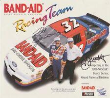 1996 Dale Jarrett + Ned Jarrett signed Band-Aid Ford NASCAR Busch postcard