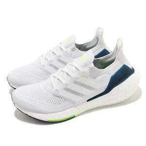 adidas Ultraboost 21 White Yellow Blue Men Running Casual Lifestyle Shoes FY0371