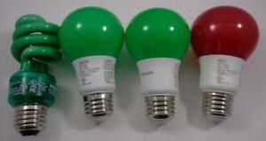 Philips and Sylvania Led 8w Bulbs 4 Bulbs (1) Red (3)Green.