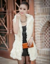 Women 100% Real Genuine Rabbit Fur Mid Long Vest Coat Waistcoat Winter Hooded sz