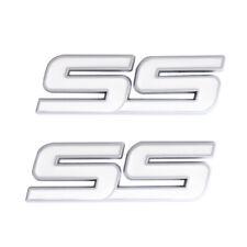 2x White Silver SS Badge Fender Trunk Lid Emblem for Chevy Camaro Impala Cobalt