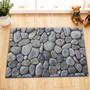 Grey Stone Wall Room Floor Soft Carpet Non-skid Door Bath Mat Decor Area Rugs