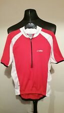 MENS DHB Cycle Jersey Size Medium Red/White Length 23'' Pit To Pit 17''- 1/2 ZIP