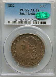1832 CAPPED BUST HALF DOLLAR PCGS AU58 CAC Approved SMALL LETTERS