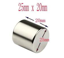 Super Strong 25mm x 20mm Rare Earth Round Neodymium Disc Magnets Grade N38