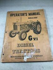 Minneapolis Moline G Vi Diesel Tractors Operators Manual Original