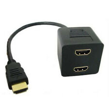 HDMI Male To 2 Female HDMI Female Y Splitter Adapter Cable Black Durable -FHS