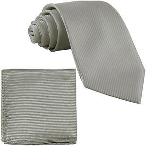 New Men's Formal stripes polyester Neck Ties & Hankie set silver gray wedding