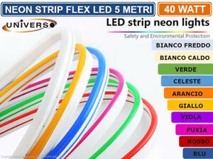 STRISCIA STRIP LED NEON FLEX 5 METRI DC12V IMPERMEABILE ESTERNO IP65 MODELLABILE