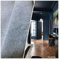 Novelty Designer Herringbone Chevron Upholstery & Drapery Fabric - Blue