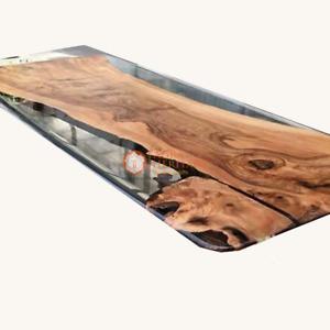 Custom Order Acacia Wood Clear River Coastal Design Epoxy Table- Resin Table Art