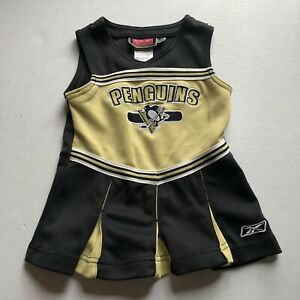 Reebok Hockey Pittsburgh Penguins Girls Cheerleader Dress Black Gold Sz 2T A1174