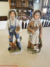 Homco Porcelain Farm Couple 1409 Old Man Woman Home Interiors Figurines
