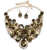 Topaz Rhinestone Statement Necklace Earrings Bridal Wedding Jewerly Prom Pageant