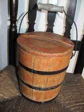 Early Staved Firkin Bucket,Original Salmon & traces of other Paint,Bail Handle