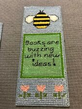 HANDMADE CROSS-STITCH CHILD'S BEE BOOKMARK, new