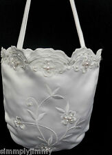White flower pattern pearls Purse Handbag for Communion Bridal ball formal dress