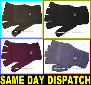 LADIES FINGERLESS COMBO MITTENS TWO IN ONE GLOVES KNITTED NEW VARIOUS COLOURS